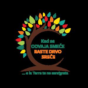 Logotip kad se odvaja smeće raste drvo sreće